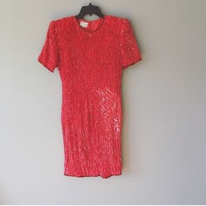 Stenay Dresses - Vintage Stenay Red 100% Silk Sequins Dress Size 10